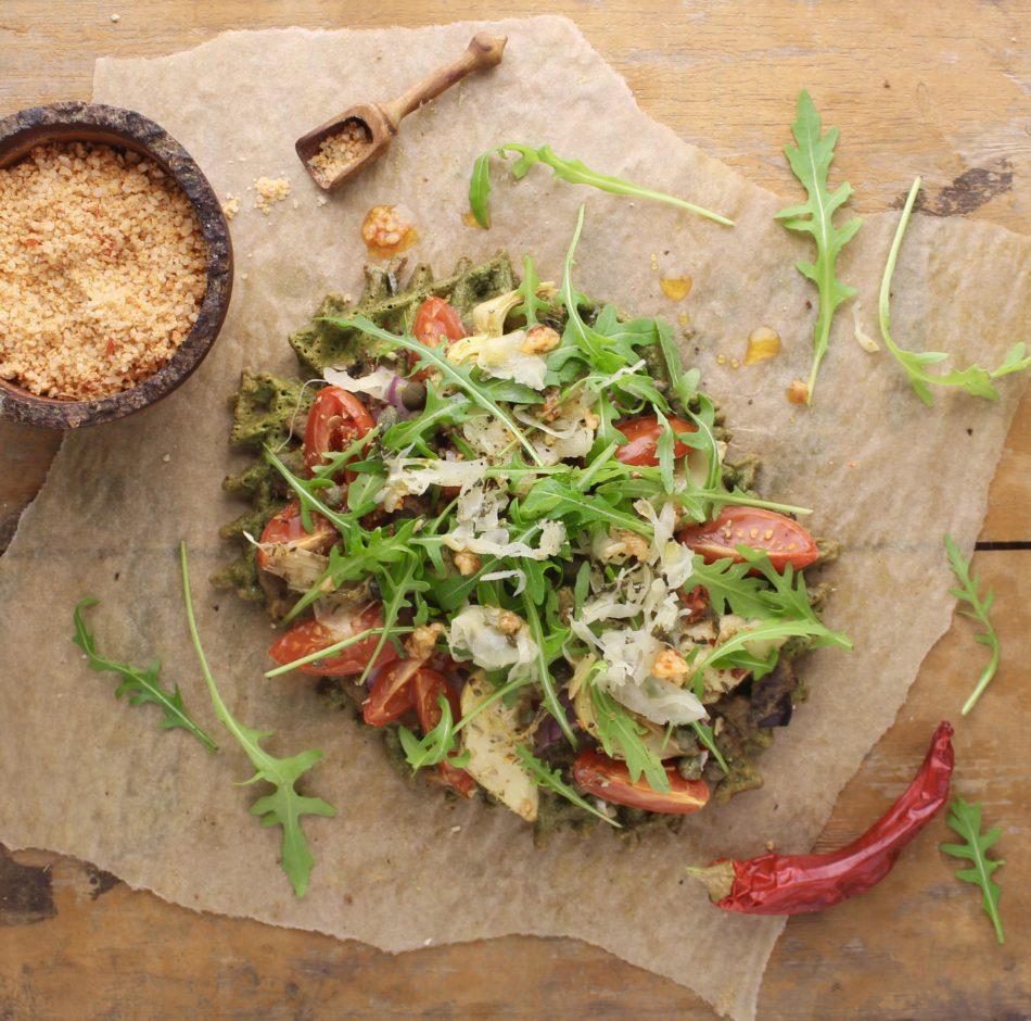Grønne vafler og auberginecreme - Plantebaseret / Vegansk opskrift - Mad med glød